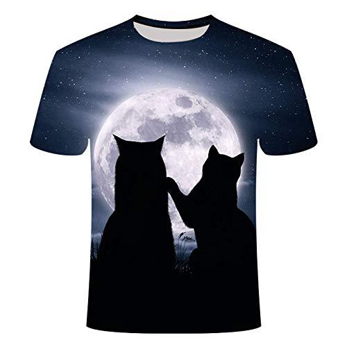 LIUZIXI 3D Fun Druckten T-Shirts,Unisex Rundhals Luftdurchlässigkeit 3D-Druck Short Sleeve T-Shirt-for Frauen Und Männer, Sommer Lässige Mode Tier Vollmond Doppel Cat Graphic Tee Tops, 6XL