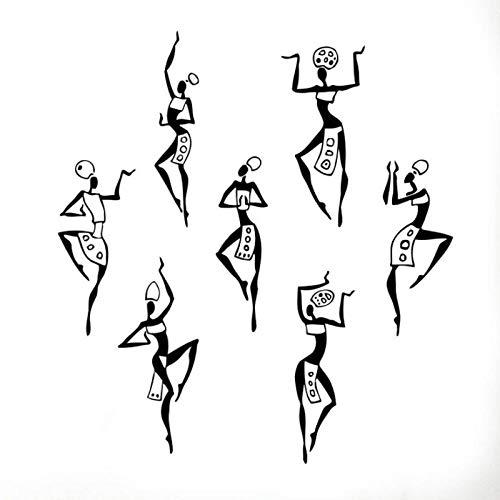 kldfig muur vinyl sticker aftrekplaatjes wandafbeelding interieur patroon kunst decor Afrikaanse vrouw meisje Afrika cultuur dansstijl kruik vaas 57x63cm