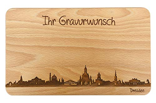 SNEG-DE Brotzeitbrett Dresden Skyline   Frühstücksbrettchen aus Buche   Holz Schneidbrett   Geschenk mit Gravur   Frühstücksbrett   Sachsen (22x14x1cm - mit persönlicher Gravur)
