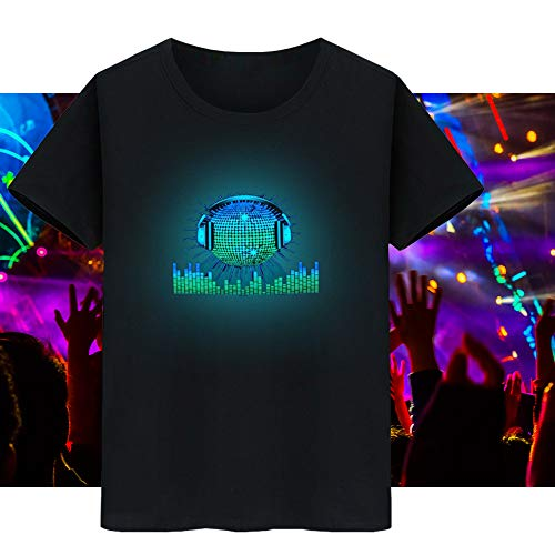 Lixada LED T-Shirt Sprachaktivierter Blitz für Party Rock Disco Night Club für Mann und Frau (3XL)