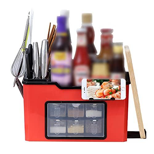 Yagosodee 2-nivåer multifunktion kök kryddhylla organiserare kök kryddor förvaring skåp hylla redskap blockställ (röd)