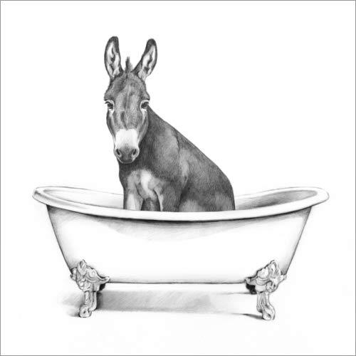 Poster 30 x 30 cm: Esel in der Wanne von Victoria Borges/World Art Group - hochwertiger Kunstdruck, neues Kunstposter