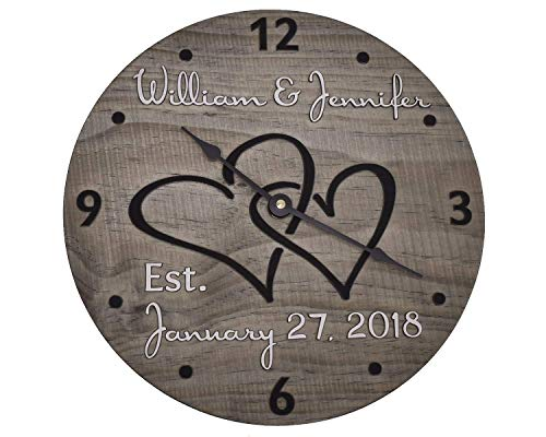 11 Inch Personalized Wooden Wall Clock for Couple - Handmade Wood Anniversary...