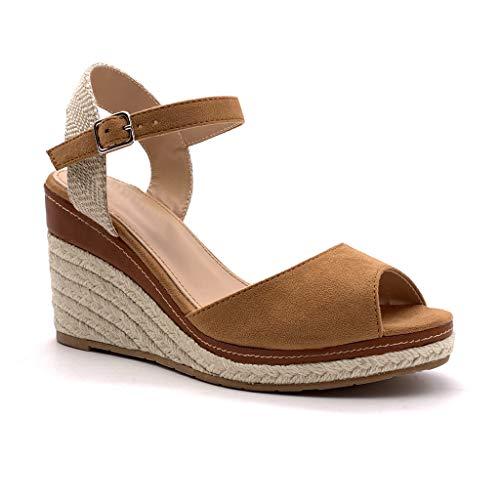 Angkorly - Scarpe Moda Sandali Espadrilla Zeppe Cinturino alla Caviglia Comfortable Donna con Paglia Semplice Basic Basic Tacco Zeppa 9 CM - Cammello 2 FL26 T 37
