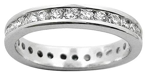 3.5MM Womens Full Eternity Channel Set Diamond Cubic Zirconia (CZ) Sterling Silver Band Ring for Women - 925 Sterling Silver - Anniversary Engagement Wedding Ring - Size K