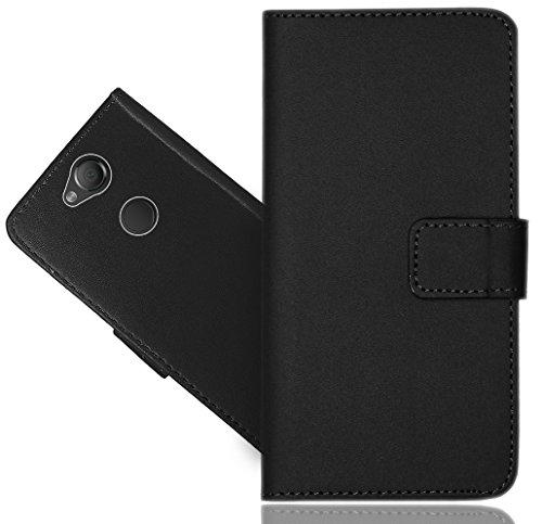Sony Xperia XA2 Plus Handy Tasche, FoneExpert Schwarz Wallet Hülle Flip Cover Hüllen Etui Hülle Ledertasche Lederhülle Schutzhülle Für Sony Xperia XA2 Plus
