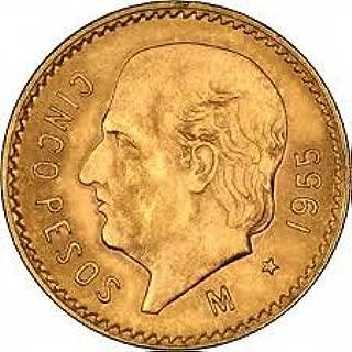 1955 Cinco Peso Gold Coin 5 Pesos Brilliant Uncirculated
