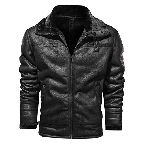 H-MetHlonsy Herren Kaschmir Lederjacke Herren Lose Revers Wolle Motorradjacke Verdickung Warmbraune Jacke Black XL
