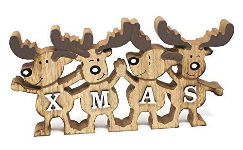 TEMPELWELT Deko Aufsteller Elche Elchreihe X-Mas 26 cm, Holz Natur Weiß, Dekofigur Holzdeko Rentiere Winterdeko Weihnachtsdeko