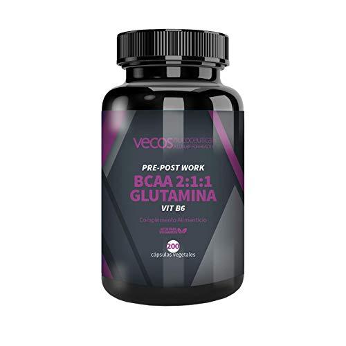 Suplemento deportivo Pre y Post Workout Vecos – BCAA, glutamina y vitamina B6 para el crecimiento y recuperación muscular – 200 cápsulas vegetales – Producto vegano