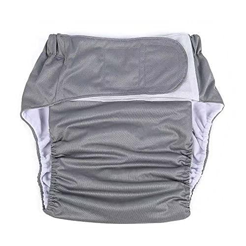 AJFG Adultos pañales de Tela,Ropa Interior Protectora de Cuidado de incontinencia, Lavable Ajustable Reutilizable para Ancianos 2115 (Color : Gray)