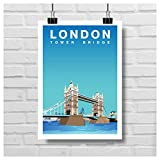 London Tower Bridge Wandkunst, Vintage-Stil, Reise-Poster