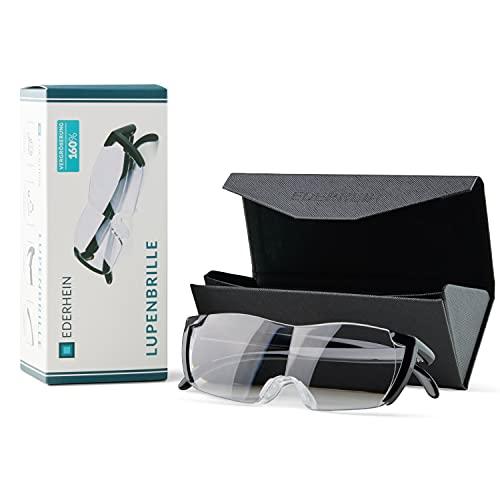 EDERHEIN Lupenbrille - 160{ffea6e99c8caebda4087178d107055a6f732204ff81842f2e6e9831931c95750} Vergrößerung - Vergrößerungsbrille mit Panorama Brillenglas inkl. Brillenetui - Für Senioren und Heimwerker
