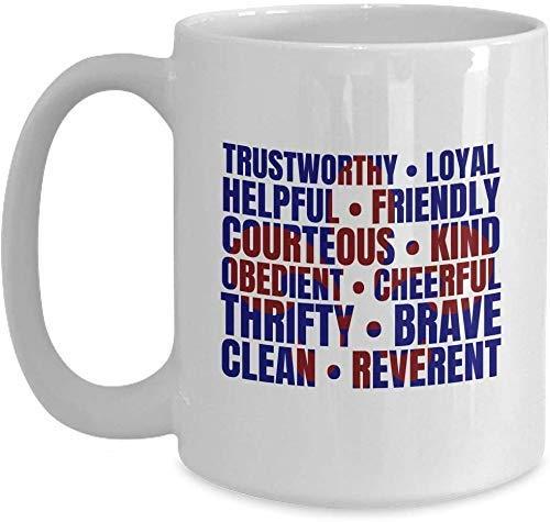Scout-Geschenk - Scouting-Geschenk, Scout-Eid, Scout-Gesetz - Weiße Kaffeetasse für Weihnachten Thanksgiving Festival Freunde Geschenk Geschenk
