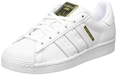 adidas Superstar W, Scarpe da Ginnastica Donna, Ftwr White/Ftwr White/Gold Met, 38 EU