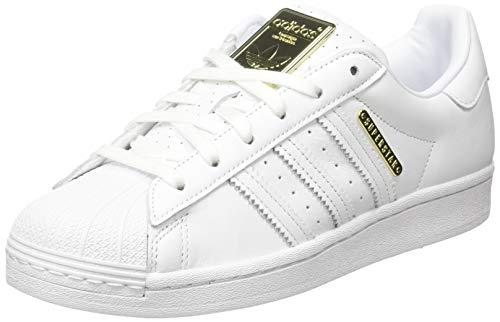 adidas Superstar W, Scarpe da Ginnastica Donna, Ftwr White/Ftwr White/Gold Met, 39 1/3 EU
