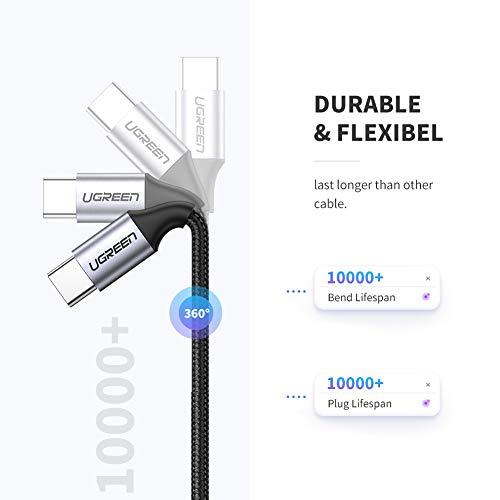 UGREEN USB C auf USB C Kabel 60W Power Delivery USB C Schnellladekabel USB-C Ladekabel kompatibel mit iPad Pro 2020, MacBook Air 2020, Dell XPS 15, Surface Go 2, Galaxy S20, Google Pixel 3 usw. (2M)