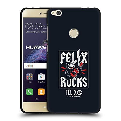 Head Case Designs Ufficiale Felix The Cat Chitarra Elettrica Rock Aspetto Sdrucito Cover Nera in Morbido Gel Compatibile con Huawei P8 Lite (2017)