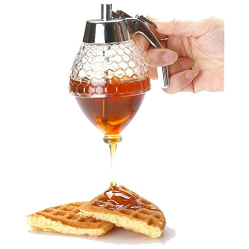 ZJchao 200 ML Acrylique Distributeur de Miel Transparent Branler Distributeur de Jus Sauce Caramel avec Poignée