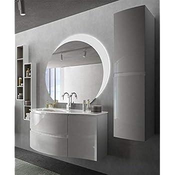 Meuble De Salle De Bain Suspendu Moderne Vague Blanc Brillant