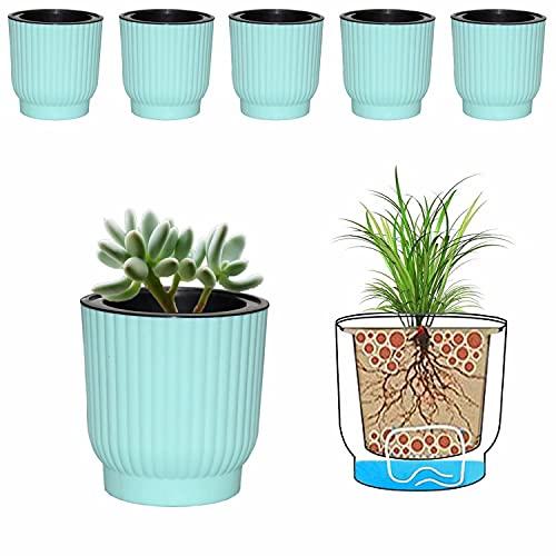 MOHENA Macetas de riego automático de 10cm con Cuerda de algodón para Plantas de Interior, macetas de plástico para Todas Las Plantas de la casa, Flores, violetas africanas, Paquete Verde de 6