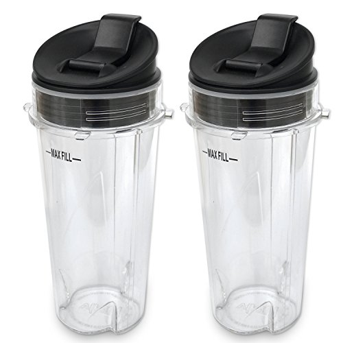 ELEFOCUS Replacement Parts for BL770 BL780 BL660 Blender, 2 Pack 16-ounce Single Serve Cup and Sip N Seal Lid Fit for Ultima & Professional for Series BL770 BL780 BL660 All Pro 4 Tab Blenders