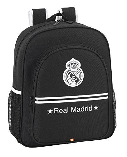 Real Madrid: Mochila Junior Adaptable  32 x 38 cm  Color Negro  SAFTA 611524640