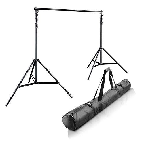 Walimex Pro XXL Hintergrundsystem (2 Stative und 5 steckbare Querstangen, 190-465 cm, inkl. Transporttasche)