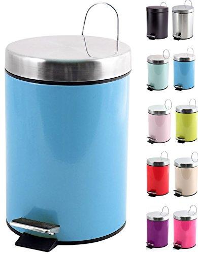 MSV Kosmetikeimer Pastellblau Mülleimer Treteimer Abfalleimer - 3 Liter – mit herausnehmbaren Inneneimer