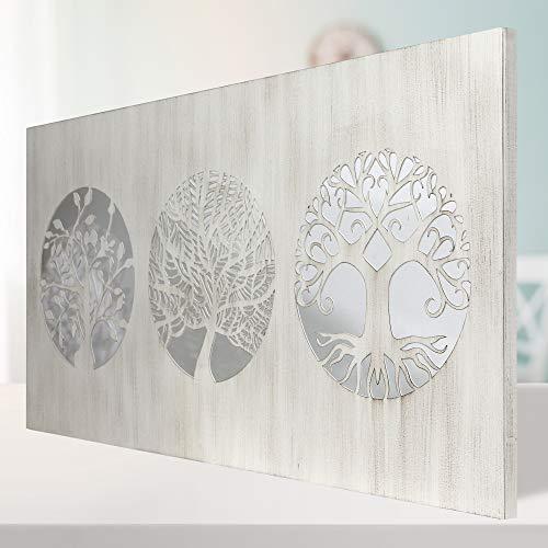 Cuadro De Pared Árboles De La Vida Calados, Fabricado Artesanalmente En España, Decorado a Mano - Cuadro Decoración Modelo Mosaico 162 -para Salón, Dormitorio(Blanco Envejecido, 60X120 cm)