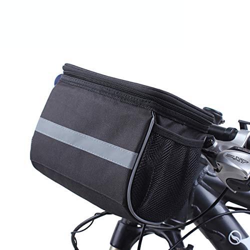 MH-RING Borsa Manubrio Bici Borse Anteriore per Bicicletta Multifunzionale Borsa Bici Telaio, Borsa Bici Telaio per 7 Pollici Telefono (Color : Black, Size : 21X14X16cm)