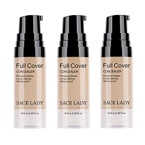 3 Pack Pro Full Cover Liquid Concealer, Waterproof Smooth Matte Flawless Finish Creamy Concealer Foundation for Eye Dark Circles Spot Face Concealer Makeup, Size: 3×6ml/0.20Fl Oz, Light Natural