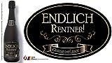"""""""Endlich Rentner"""" Aufkleber Flaschenetikett Etikett oval gold elegant"""