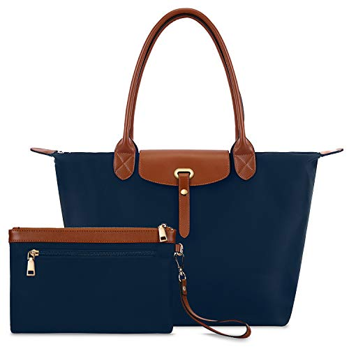 Gywon Women's Nylon Tote Top Handle Handbag Shoulder Bag Waterproof Travel Beach Bags with Wallet 2Pcs Purse Set Blue