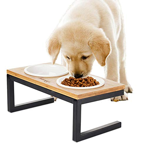 Premium Elevated Pet Feeder for Dog Cat, Bamboo Rasied Pet Bowls Include 2 Ceramic Bowls with Stong Stainless Steel Frame Black