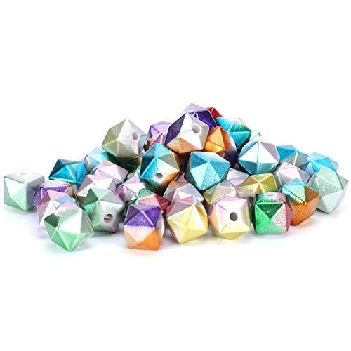 Plyisty Cuentas Sueltas de Forma de Cubo de plástico, Cuentas de Cubo Coloridas facetadas para Pulseras para Bandas para el Cabello