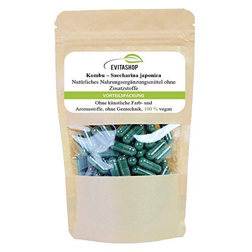 Kombu Kapseln, Saccharina japonica| 1 Packung = 60 x 400 mg | Ohne Zusatzstoffe | 100% vegan | Hochdosierte Kapseln | Gesundes Jod aus Algen genießen! | Made in Germany