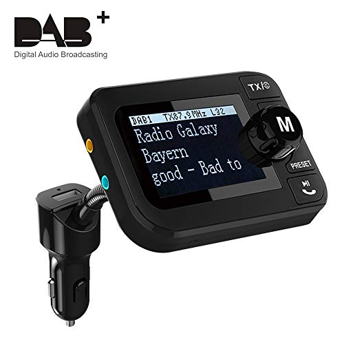 Auto DAB Transmitter,[PLUG&PLAY] DAB Adapter für Autoradio DAB Adapter Autoradio DAB+ Adapter mit FM Sender Freisprechen Bluetooth Audio Empfänger 5V 2.1A Kfz Ladegerät U-Disk/TF Play 2.3