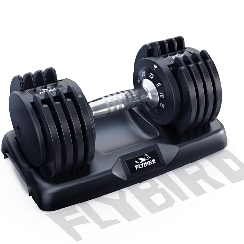 FLYBIRD Adjustable Dumbbell,25 lb Single Dumbbell for Men and Women with Anti-Slip Metal Handle,Fast Adjust Weight by Turning Handle,Black Dumbbell with Tray Suitable for Full Body Workout Fitness
