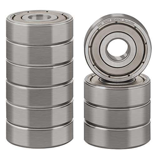 XiKe 10 Pcs 626ZZ Double Metal Seal Bearings 6x19x6mm, Pre-Lubricated and Stable Performance and Cost Effective, Deep Groove Ball Bearings.