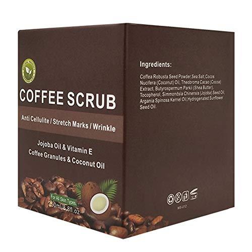 250ml Body Scrub enthält Koffein, Peeling Creme, Tiefenreinigung, um Falten und Mitesser zu reduzieren