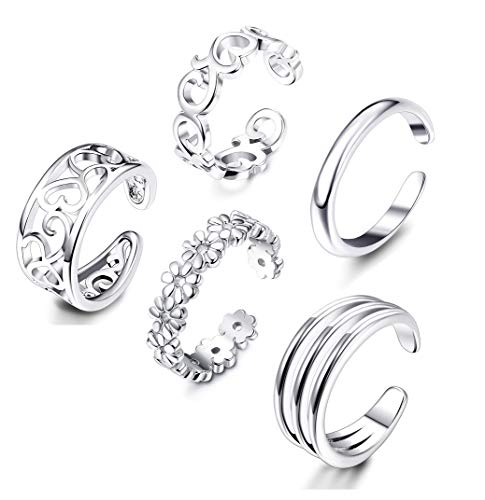 Adramata 5 Pcs Open Toe Rings for Women Adjustable Flower Celtic Knot Simple Toe Ring Gifts Jewelry Set