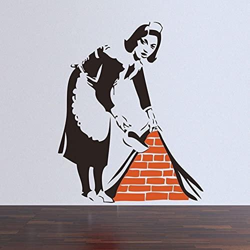Banksy French maid Street Art Graffiti Mujer en el trabajo Vinilo Etiqueta de la pared Calcomanía Dormitorio Sala de estar Cocina Estudio Club Decoración para el hogar Mural