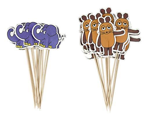 Dr. Oetker Party-Picker Maus & Elefant DieMaus, Maus-Motive zum Dekorieren von Torten, Elefanten-Motive zum Verschönern von Kuchen (Farbe: Braun, Orange, Blau) Menge: 2 x 12 Stück