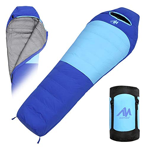 Down Mummy Sleeping Bag [1200g Down Fill] Zero Degree for [Adults Up 7'2] Winter Cold Weather Waterproof Tall Lightweight Backpacking Camping Bag with Compact Sack for 4 Season Outdoor