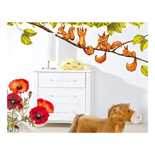 Wandtattoo Aufkleber Kinderzimmer Tiere Einhörnchen jubeln 131 x 50 cm