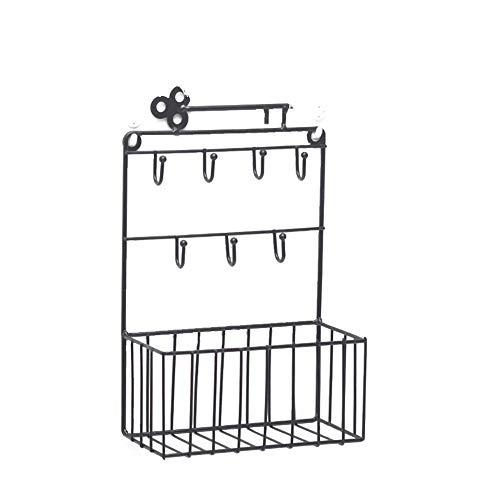 JUNGEN Metall Stehsammler Schwarz Zeitschriftensammler Regal Türöffnung Hängender Schlüssel Aufbewahrungskorb aus Schmiedeeisen Schlüsselhaken 17,5 * 9 * 28 cm