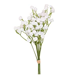 Artificial Gypsophila Flower Fake Silk Wedding Party Bouquet Home Decor White Artificial Baby Breath Flowers Bouquet for Hotel Home Office Kitchen Bathroom Wedding Party DIY Decor (White)