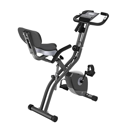 Exercise Bike 10 Levels of Adjustable Magnetic Resistance, Foldable and Quiet, with Arm Resistance Band, LCD Screen, Used for Home Aerobic Training Bicycle, Stationary 264lbs Weight Capacity