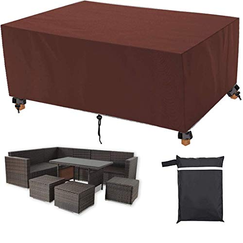 Wosxyeal Garden Furniture Covers Waterproof,Patio Furniture Cover with Drawstring,Heavy Duty 420D Oxford Fabric Windproof Anti-UV,Suitable for large tables for 6-8 seaters (74.1x25.7x34.7in) -Brown